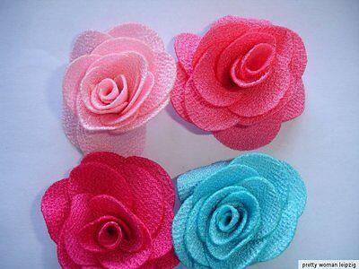 8 Stück Rose aus Stoff 70mm in 4 Farben
