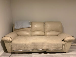 Beige leather recliner 3 seater ($50 or best offer)