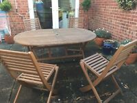 Large Hardwood Garden Table & Chairs