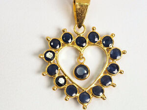 Pendant - 18K yellow gold natural sapphire heart pendant