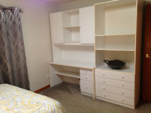 White desk, hutch and 2 matching wall units in perfect condition