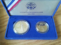 1986 S Silver dollar and half dollar proof coins USA
