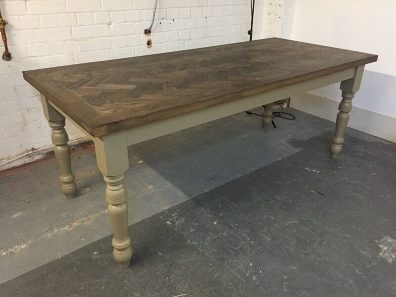 Large Contemporary Farmhouse Dining Table Solid Ebonised