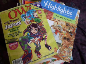 Stack of Highlights and Owl magazines