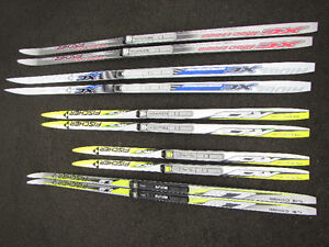 Various sizes of cross country skis