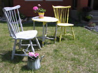 Gorgeous Shabby Chic Bistro/Patio Set * upcycled fr antiQ pieces