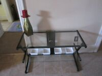 VERY MODERN GLASS AND METAL TABLE-TWO SHELVES-CLEAN-INTACT
