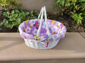 Wicker basket with butterfly liner & handles, baby moses child