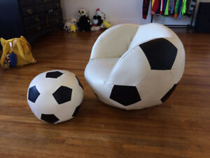 Soccer chair and footstool
