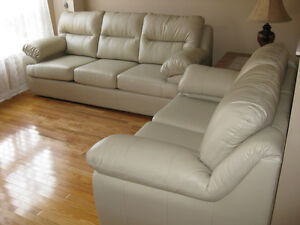 Leather sofa and love seat for sale.