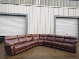Large brown leather electric recliner sofa couch suite 🚚🚚