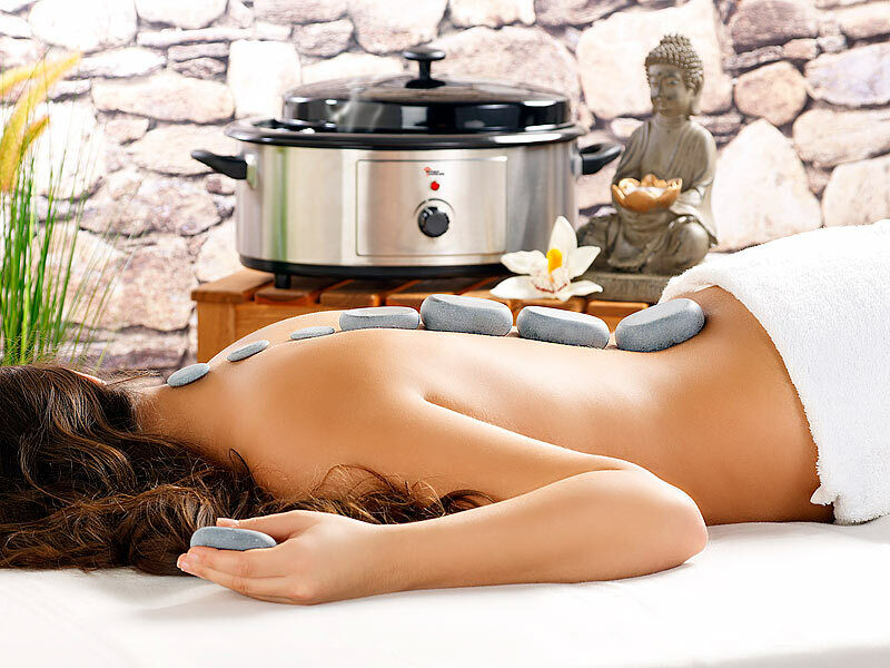 Professionelles Hot-Stone-Set: Wärmegerät & 23 Massagesteine Wellness Lavasteine