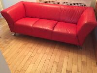 Three Seater Red Leather Settee
