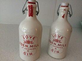 Two empty Edin Mill bottles for sale.