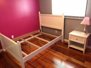 Full/Double bed frame, night stand, lamp and 2 corner shelves.