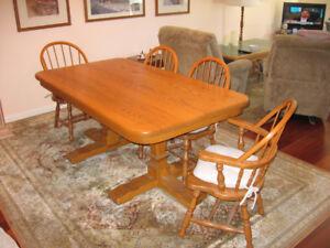 Solid oak trestle table