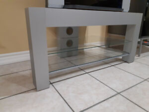 TV Stand TV Table - Silver/ Gray colour w/ 2 glass shelves