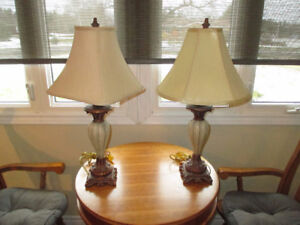 Lamps. Matching Pair and Hand-painted Oriental Ceramic