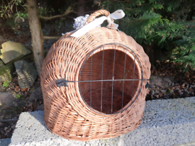 Pretty Wicker Willow Basket Carrier Pet Cat Rabbit