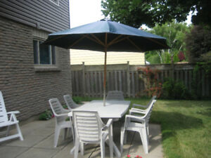 Patio Set: Table, Umbrella, 6 Matching Chairs Plus 2 - $50 Firm