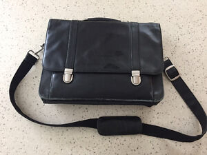 Briefcase Laptop Bag- Black Leather