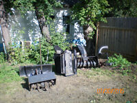 snow blower ,rototiller,push blade and leaf catcher