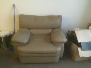 Free! Leather coach and chair two end tables and a dresser