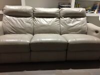 Grey electric recliner leather sofa from furniture village approx 1 year old