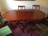 Beautiful Dark wood 6 Seater Table, Chairs and extension leaf (10 people) & Matching Sideboard