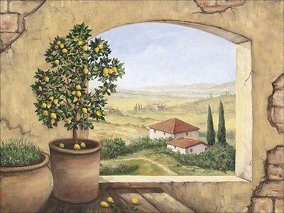 Fenster Poster (Poster oder Leinwand Bild Landschaft Fensterblick Italien Malerei Creme A2JB)