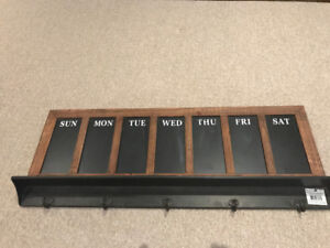 The Days of The Week Chalkboard Wall Hook - NEW