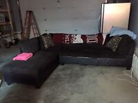 Dark brown sectional couc