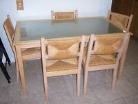 Glass top dining table with 5 chairs