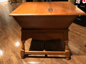 Antique Solid Maple Side Table w/ Storage