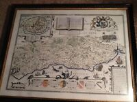 Historic map of Sussex framed print