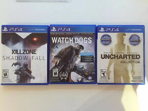 PS4 Uncharted Collection, WatchDogs, Killzone. Vente ou echange