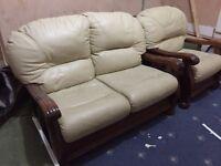 Leather & oak wood sofa set
