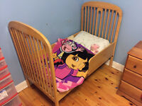 Crib modified into toddler bed