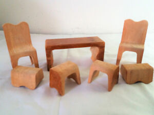 Vintage Doll House Furniture / Wood Puzzle Box