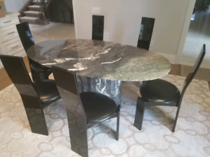 Marble Dining Table Set with 6 Chairs