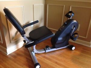 Recumbent exercise bike, supportive seat, can deliver