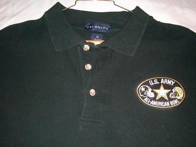 Us Army All American Ncaa Football Black Cotton Golf Polo Shirt Mens Xl Used
