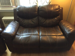 Leather recliner love seat and chair