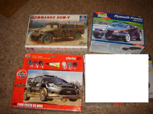 plastic model kits hum-v, Fiesta rally, GT, Plymouth Prowler