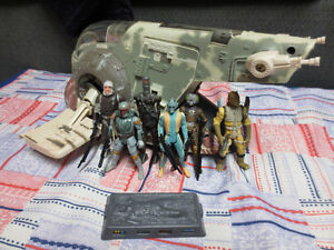 Star Wars Power of the Force Bounty Hunter Figures and Slave One