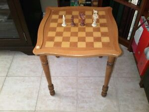 Chess Table & Set of Chess Pieces