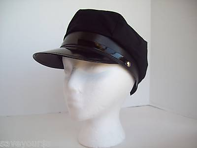 Black Chauffeur Taxi Limo Driver Police Halloween Costume - Police Hat Costume