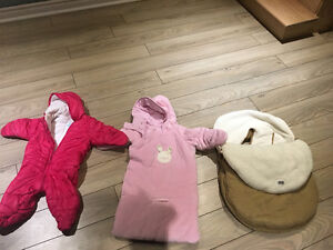 Snow jackets ( 3-6)+ jolly jumper car seat's cover.