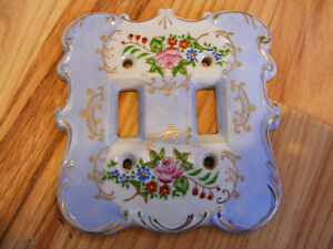 Vintage Porcelain Double Light Switch Cover with Round Corners