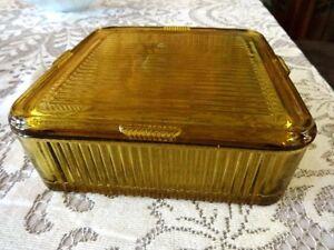 """Large Vintage 8.5"""" square Federal Lidded Refrigerator Dish"""